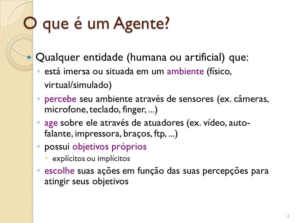 O que é um Agente? Qualquer entidade (humana ou artificial) que: está imersa ou situada em um ambiente (físico, virtual/simulado) percebe seu ambiente