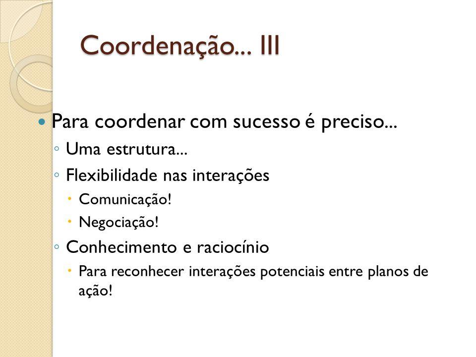 Coordenação... III Para coordenar com sucesso é preciso... Uma estrutura... Flexibilidade nas interações Comunicação! Negociação! Conhecimento e racio