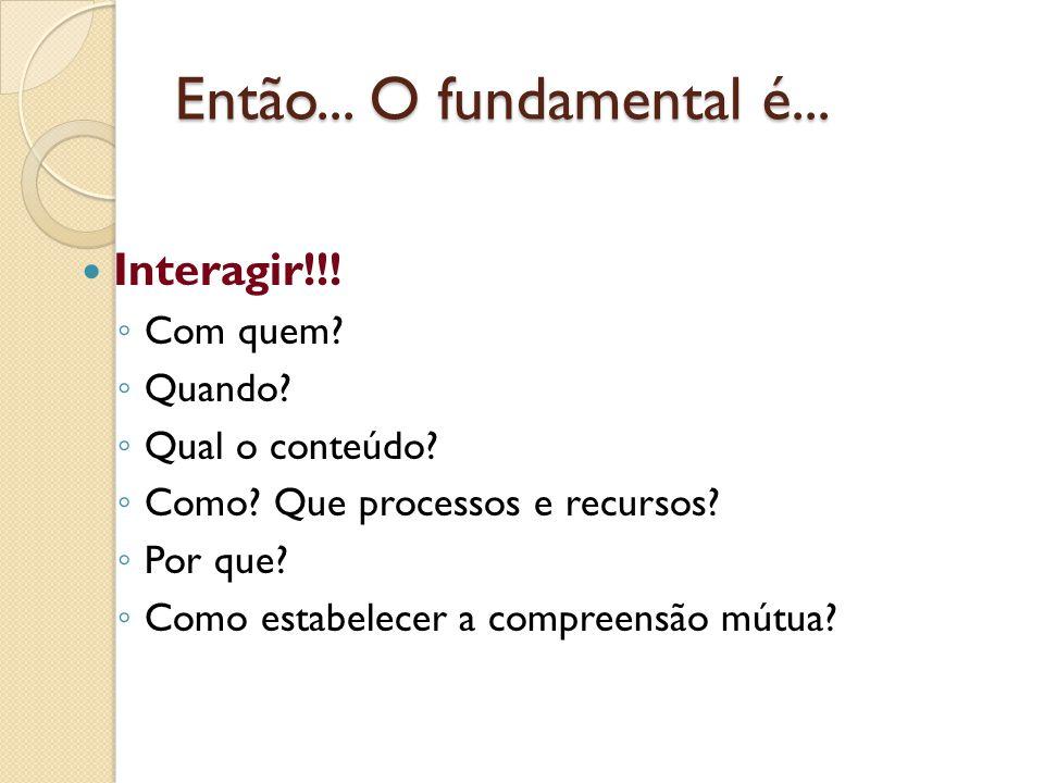 Então... O fundamental é... Interagir!!! Com quem? Quando? Qual o conteúdo? Como? Que processos e recursos? Por que? Como estabelecer a compreensão mú