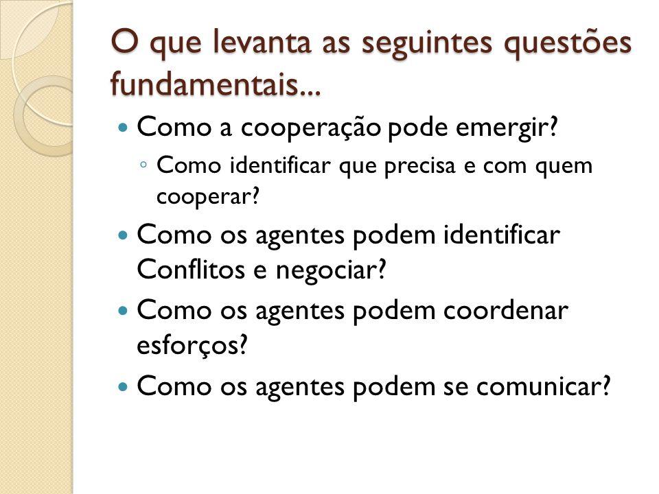 O que levanta as seguintes questões fundamentais... Como a cooperação pode emergir? Como identificar que precisa e com quem cooperar? Como os agentes