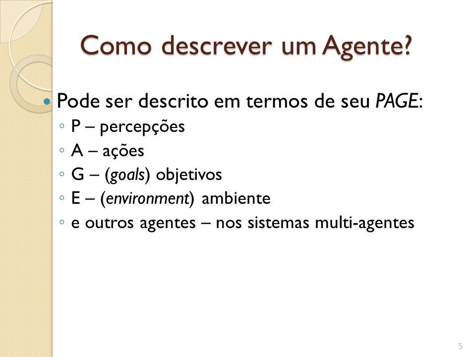 Como descrever um Agente? Pode ser descrito em termos de seu PAGE: P – percepções A – ações G – (goals) objetivos E – (environment) ambiente e outros