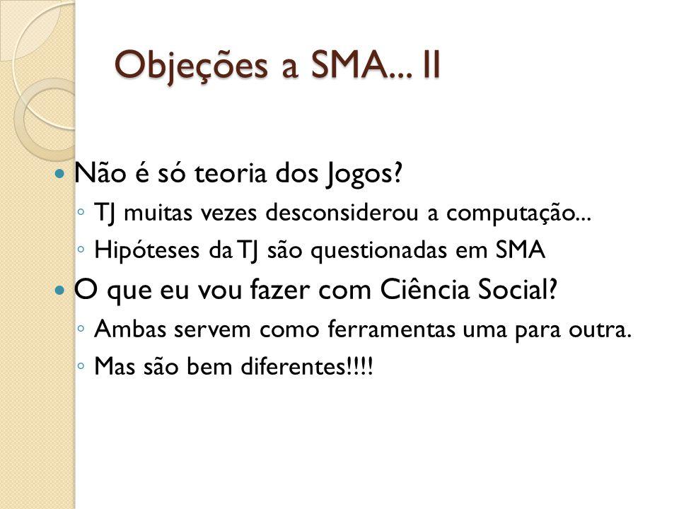 Objeções a SMA... II Não é só teoria dos Jogos? TJ muitas vezes desconsiderou a computação... Hipóteses da TJ são questionadas em SMA O que eu vou faz