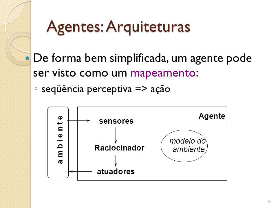 Agentes: Arquiteturas De forma bem simplificada, um agente pode ser visto como um mapeamento: seqüência perceptiva => ação 6 sensores Agente atuadores