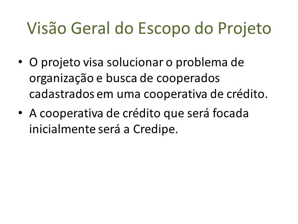 Visão Geral do Escopo do Projeto O projeto visa solucionar o problema de organização e busca de cooperados cadastrados em uma cooperativa de crédito.