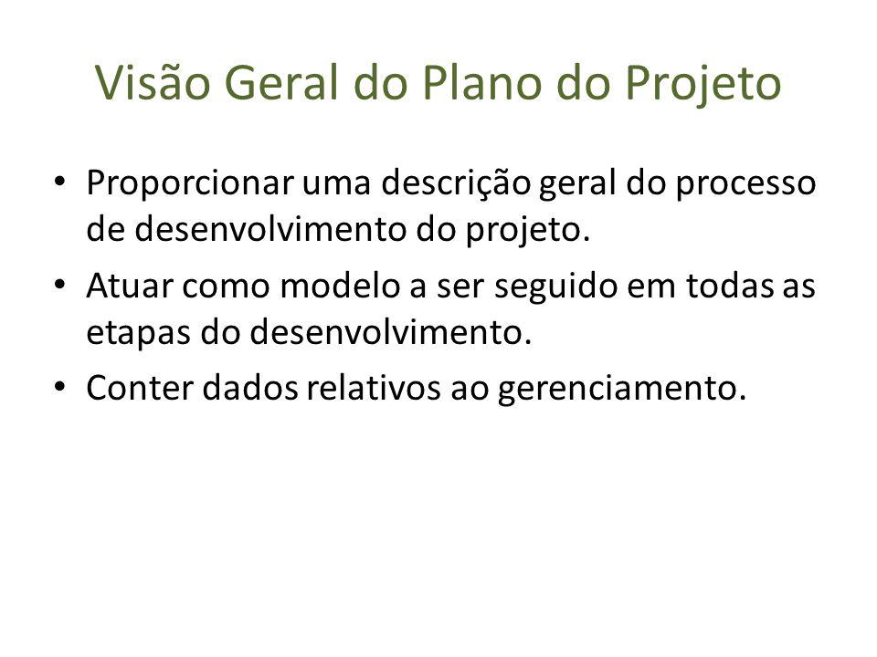 Visão Geral do Plano do Projeto Proporcionar uma descrição geral do processo de desenvolvimento do projeto. Atuar como modelo a ser seguido em todas a