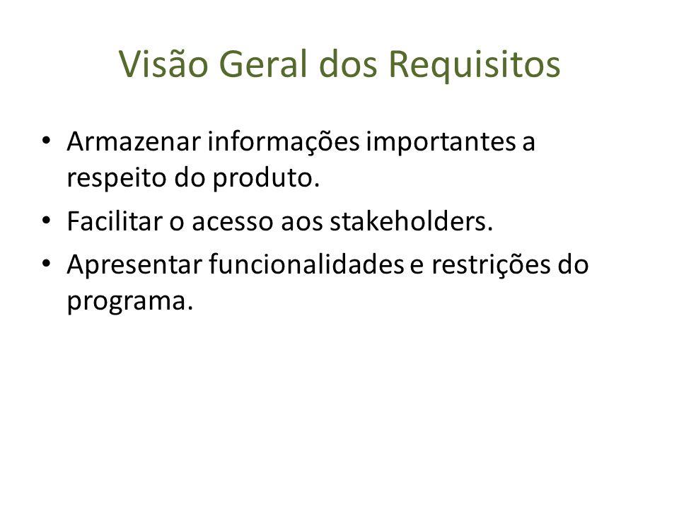 Visão Geral dos Requisitos Armazenar informações importantes a respeito do produto. Facilitar o acesso aos stakeholders. Apresentar funcionalidades e