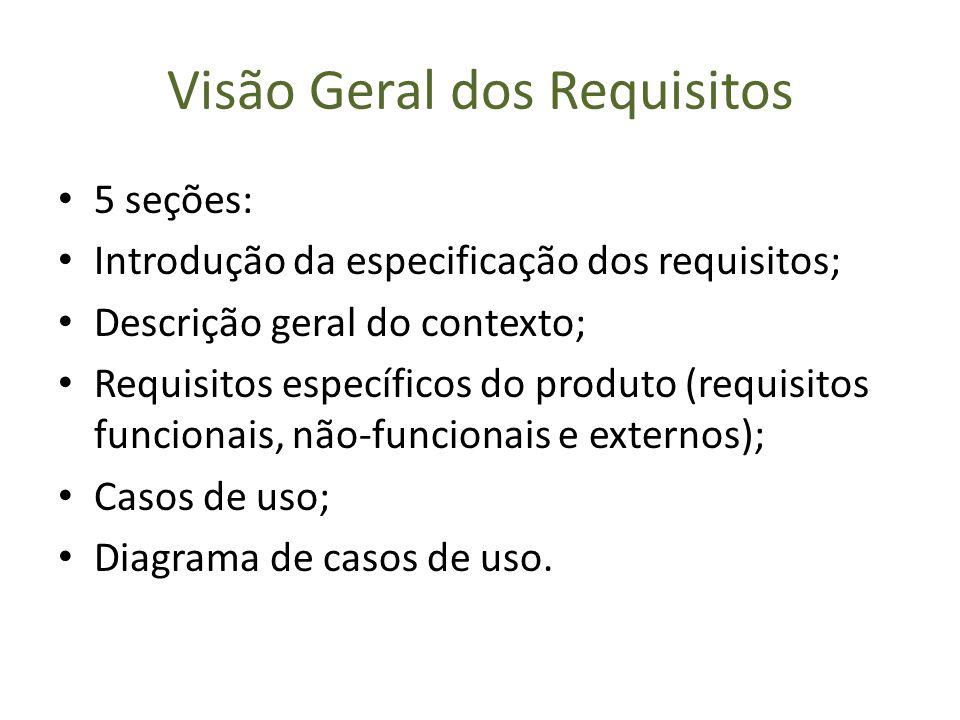 Visão Geral dos Requisitos 5 seções: Introdução da especificação dos requisitos; Descrição geral do contexto; Requisitos específicos do produto (requi