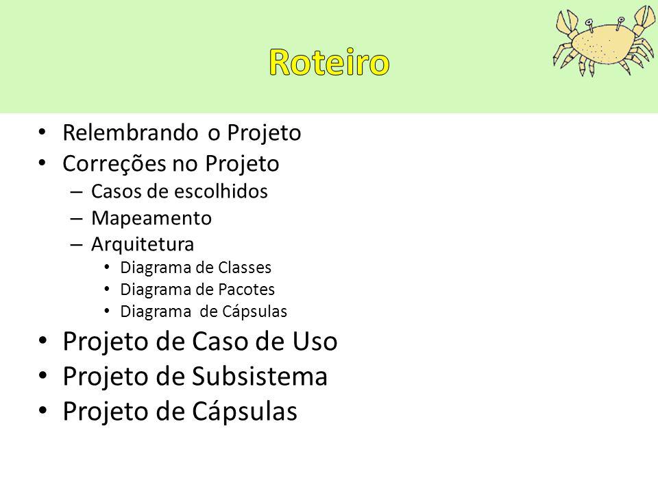 Relembrando o Projeto Correções no Projeto – Casos de escolhidos – Mapeamento – Arquitetura Diagrama de Classes Diagrama de Pacotes Diagrama de Cápsul