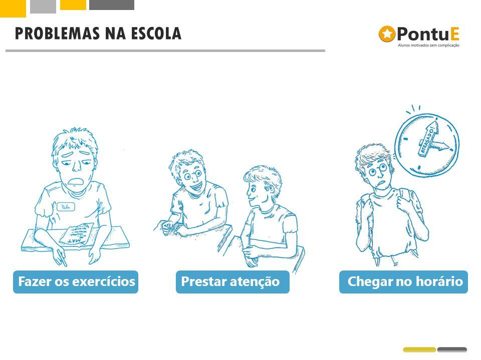 PROBLEMAS NA ESCOLA Fazer os exercícios Chegar no horário Prestar atenção