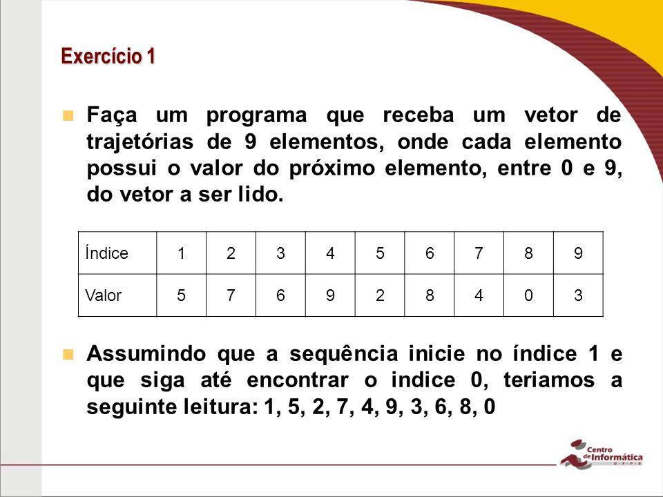 Exercício 1 Faça um programa que receba um vetor de trajetórias de 9 elementos, onde cada elemento possui o valor do próximo elemento, entre 0 e 9, do