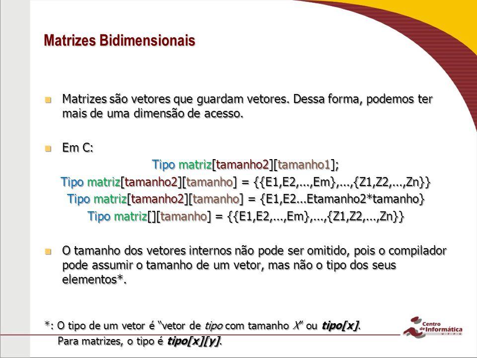 Matrizes Bidimensionais Matrizes são vetores que guardam vetores. Dessa forma, podemos ter mais de uma dimensão de acesso. Matrizes são vetores que gu