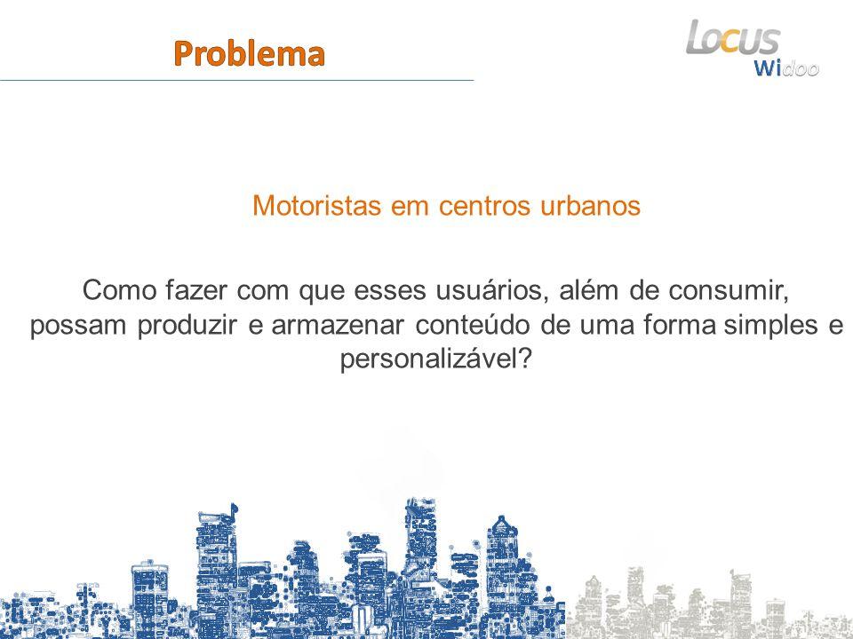 Motoristas em centros urbanos Como fazer com que esses usuários, além de consumir, possam produzir e armazenar conteúdo de uma forma simples e personalizável