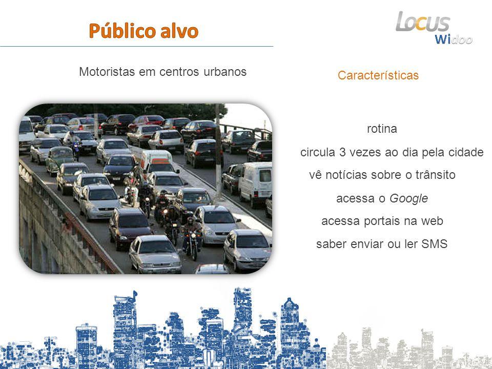 Características Motoristas em centros urbanos acessa o Google vê notícias sobre o trânsito circula 3 vezes ao dia pela cidade saber enviar ou ler SMS acessa portais na web rotina