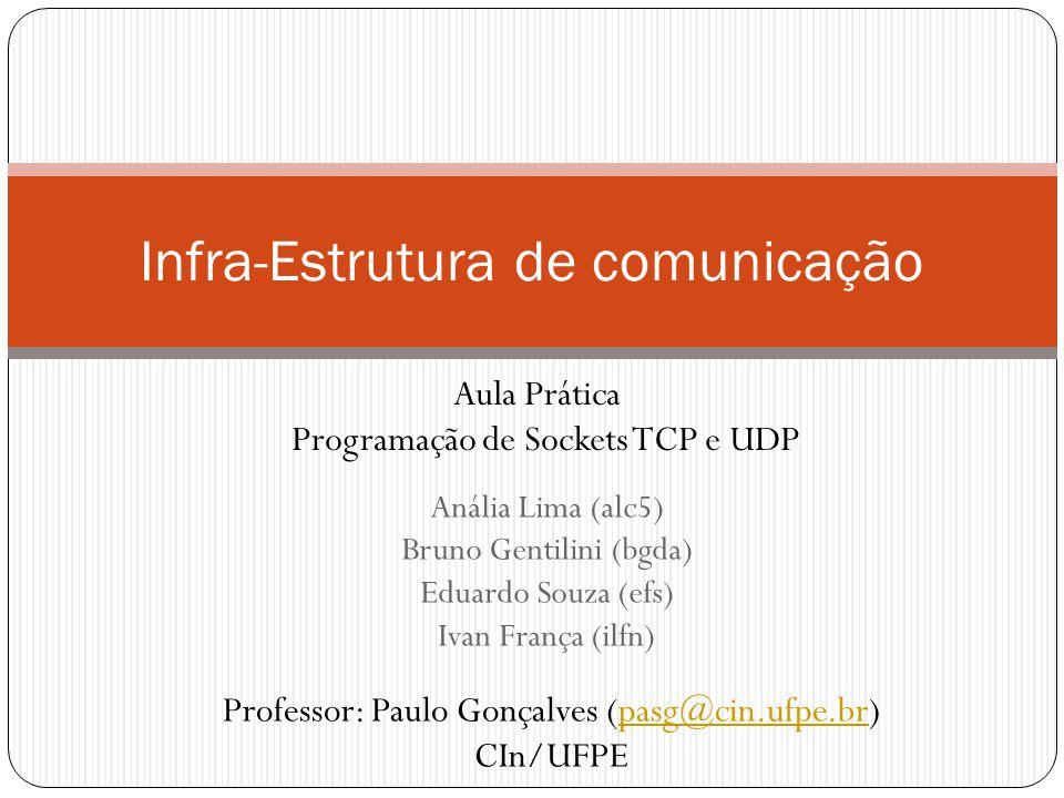 Anália Lima (alc5) Bruno Gentilini (bgda) Eduardo Souza (efs) Ivan França (ilfn) Infra-Estrutura de comunicação Aula Prática Programação de Sockets TCP e UDP Professor: Paulo Gonçalves (pasg@cin.ufpe.br)pasg@cin.ufpe.br CIn/UFPE