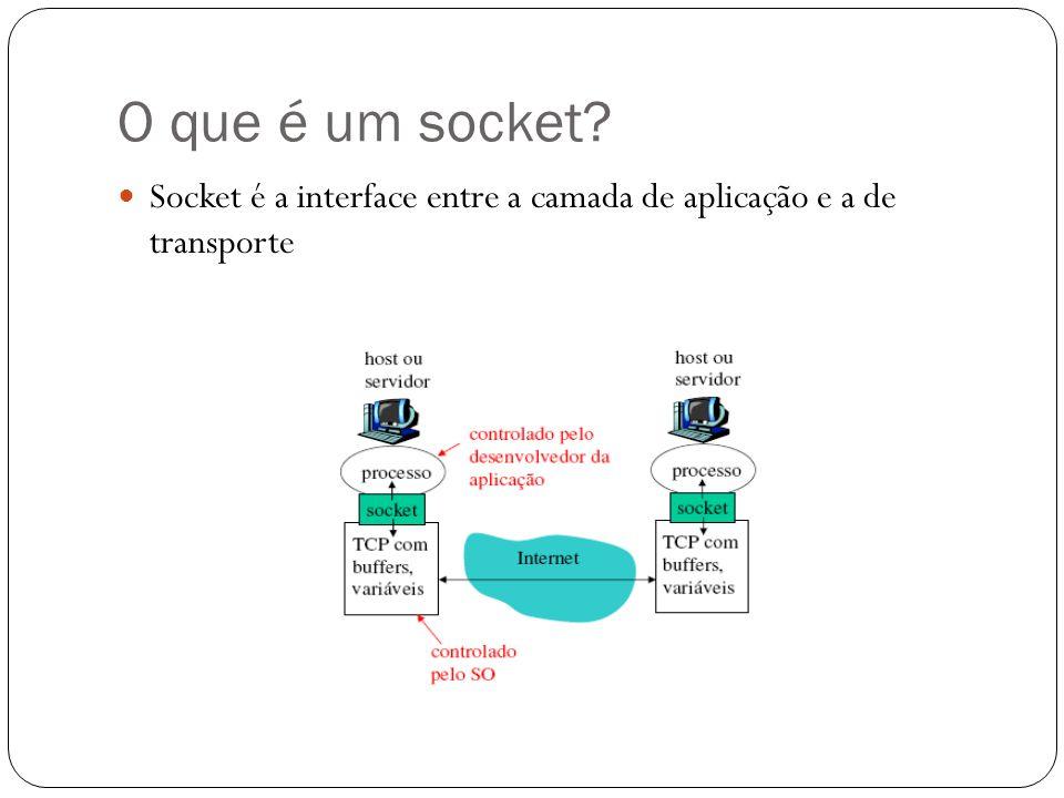 Programação de socket TCP- Client import java.io.*; import java.net.*; import java.util.Scanner; public class TCPclient { public static void main(String[] args) throws Exception { //lendo do teclado String inFromUser = new Scanner(System.in).next(); //criando um socket TCP Socket sock = new Socket( localhost , 2000); //stream de saida DataOutputStream socketOut = new DataOutputStream(sock.getOutputStream()); socketOut.writeBytes(inFromUser + \n ); //resposta do servidor BufferedReader socketIn = new BufferedReader(new InputStreamReader(sock.getInputStream())); System.out.println(socketIn.readLine()); }