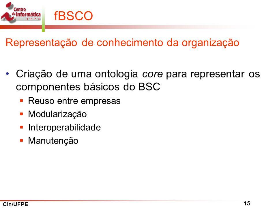 CIn/UFPE 15 fBSCO Representação de conhecimento da organização Criação de uma ontologia core para representar os componentes básicos do BSC Reuso entre empresas Modularização Interoperabilidade Manutenção