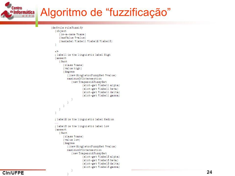 CIn/UFPE 24 Algoritmo de fuzzificação