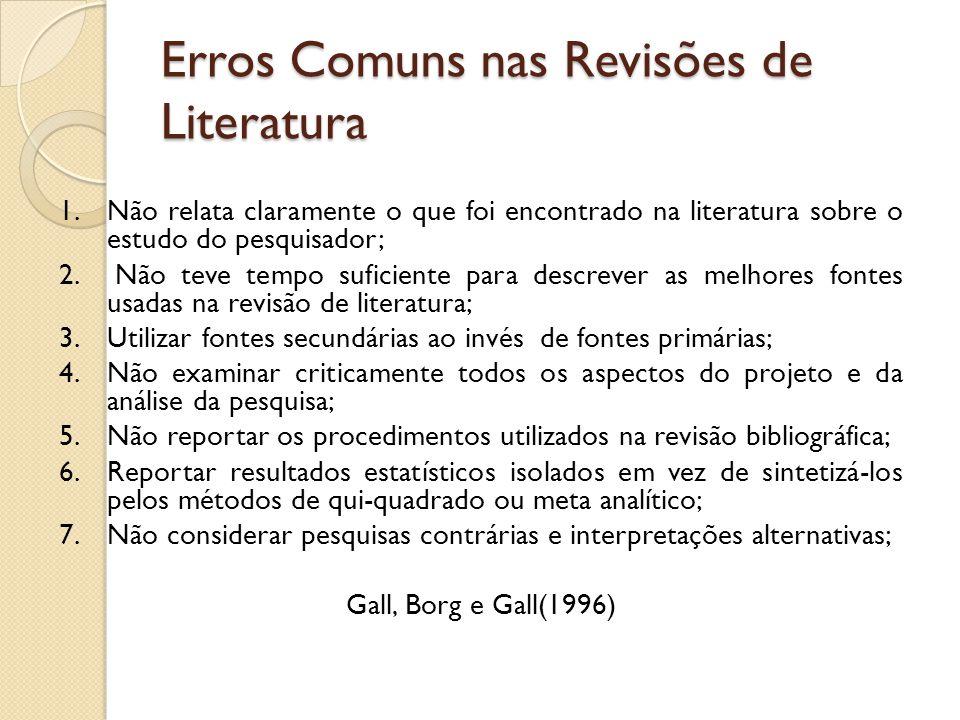 Erros Comuns nas Revisões de Literatura 1.Não relata claramente o que foi encontrado na literatura sobre o estudo do pesquisador; 2. Não teve tempo su