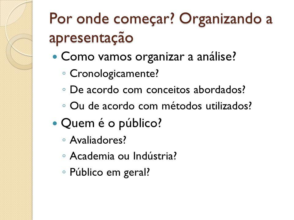 Por onde começar? Organizando a apresentação Como vamos organizar a análise? Cronologicamente? De acordo com conceitos abordados? Ou de acordo com mét