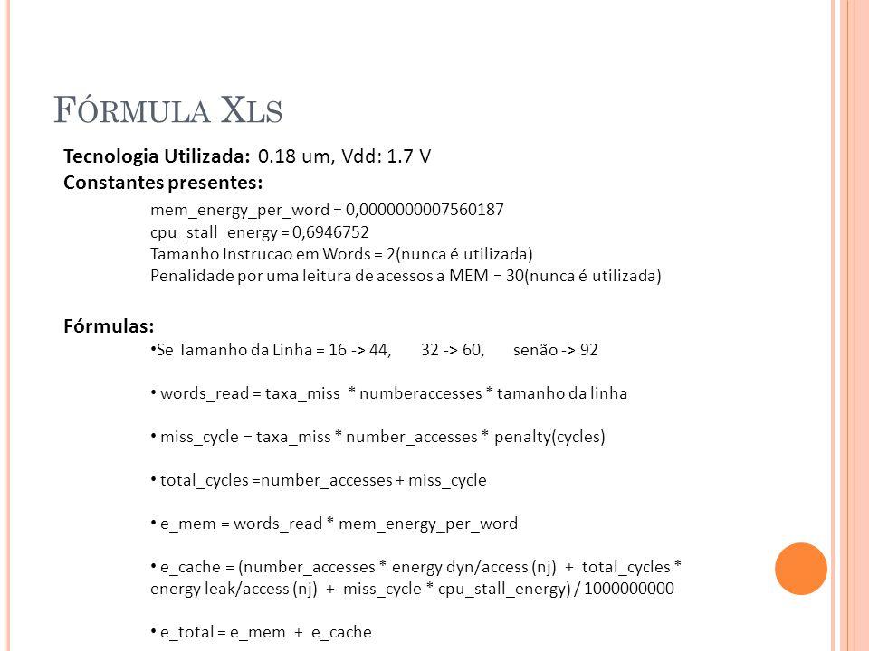 F ÓRMULA X LS Tecnologia Utilizada: 0.18 um, Vdd: 1.7 V Constantes presentes: mem_energy_per_word = 0,0000000007560187 cpu_stall_energy = 0,6946752 Tamanho Instrucao em Words = 2(nunca é utilizada) Penalidade por uma leitura de acessos a MEM = 30(nunca é utilizada) Fórmulas: Se Tamanho da Linha = 16 -> 44, 32 -> 60, senão -> 92 words_read = taxa_miss * numberaccesses * tamanho da linha miss_cycle = taxa_miss * number_accesses * penalty(cycles) total_cycles =number_accesses + miss_cycle e_mem = words_read * mem_energy_per_word e_cache = (number_accesses * energy dyn/access (nj) + total_cycles * energy leak/access (nj) + miss_cycle * cpu_stall_energy) / 1000000000 e_total = e_mem + e_cache