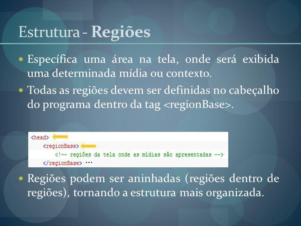 Estrutura - Regiões Específica uma área na tela, onde será exibida uma determinada mídia ou contexto. Todas as regiões devem ser definidas no cabeçalh