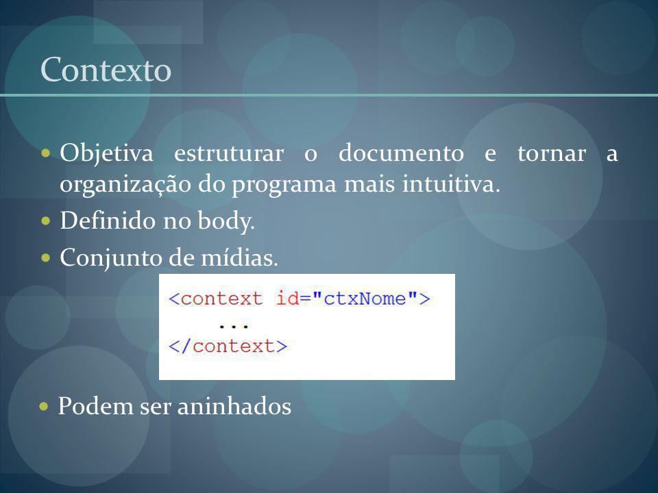 Contexto Objetiva estruturar o documento e tornar a organização do programa mais intuitiva. Definido no body. Conjunto de mídias. Podem ser aninhados