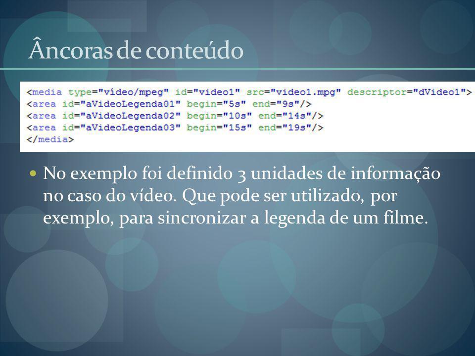 Âncoras de conteúdo No exemplo foi definido 3 unidades de informação no caso do vídeo. Que pode ser utilizado, por exemplo, para sincronizar a legenda