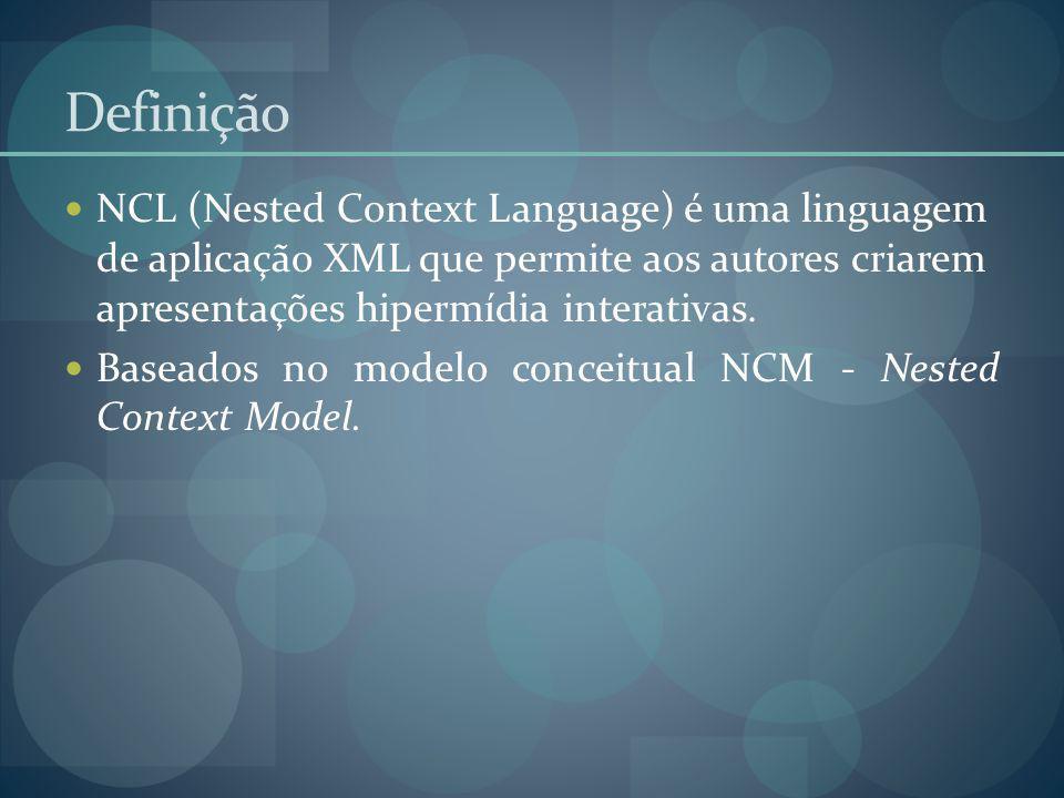 Definição NCL (Nested Context Language) é uma linguagem de aplicação XML que permite aos autores criarem apresentações hipermídia interativas. Baseado