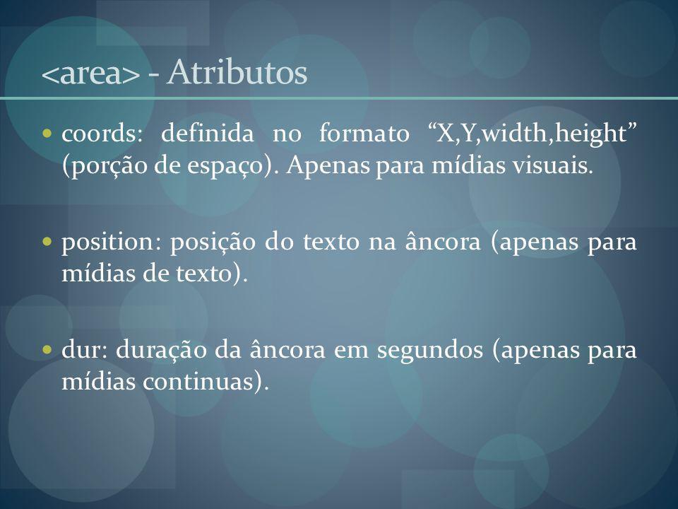 - Atributos coords: definida no formato X,Y,width,height (porção de espaço). Apenas para mídias visuais. position: posição do texto na âncora (apenas