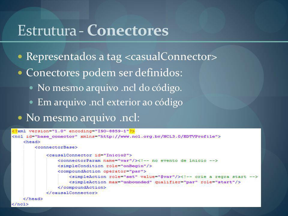 Representados a tag Conectores podem ser definidos: No mesmo arquivo.ncl do código. Em arquivo.ncl exterior ao código No mesmo arquivo.ncl: Estrutura