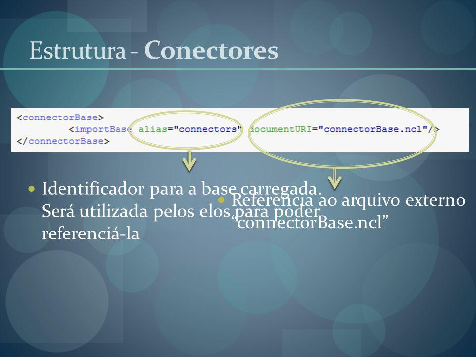 Identificador para a base carregada. Será utilizada pelos elos para poder referenciá-la Referencia ao arquivo externo connectorBase.ncl