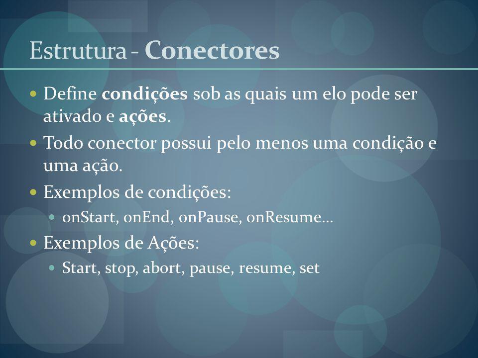 Define condições sob as quais um elo pode ser ativado e ações. Todo conector possui pelo menos uma condição e uma ação. Exemplos de condições: onStart
