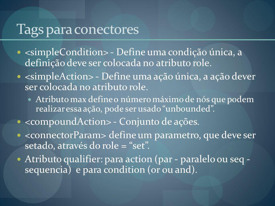 Tags para conectores - Define uma condição única, a definição deve ser colocada no atributo role. - Define uma ação única, a ação dever ser colocada n