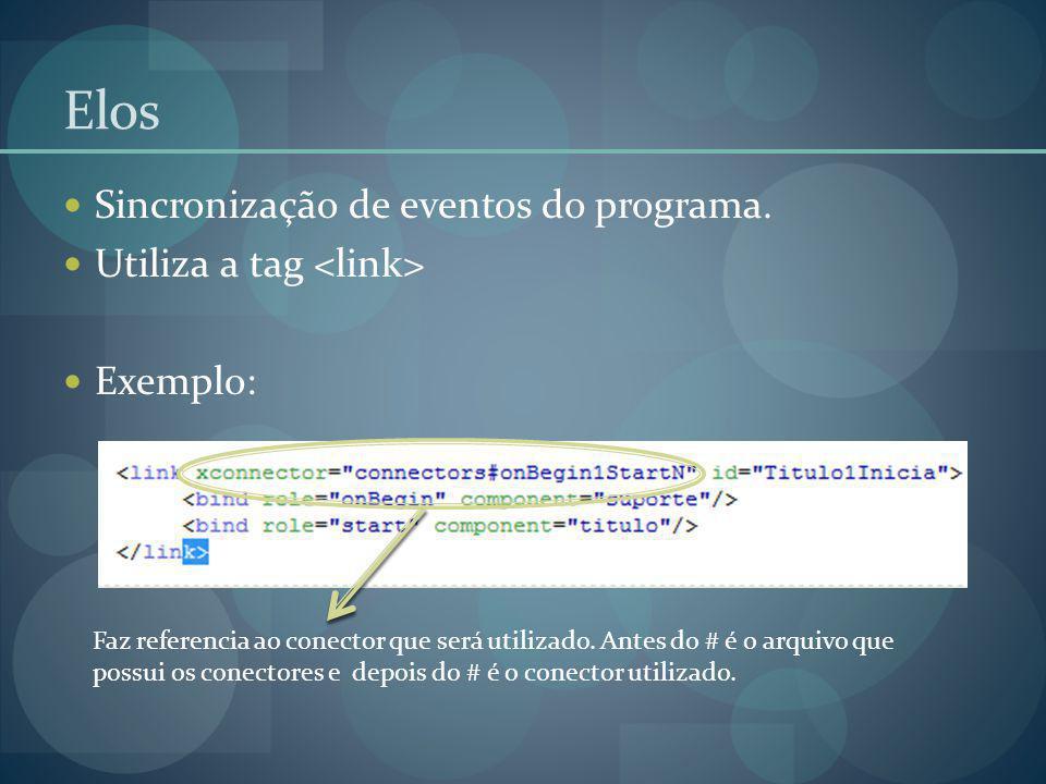 Elos Sincronização de eventos do programa. Utiliza a tag Exemplo: Faz referencia ao conector que será utilizado. Antes do # é o arquivo que possui os