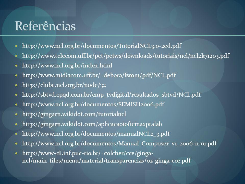 Referências http://www.ncl.org.br/documentos/TutorialNCL3.0-2ed.pdf http://www.telecom.uff.br/pet/petws/downloads/tutoriais/ncl/ncl2k71203.pdf http://