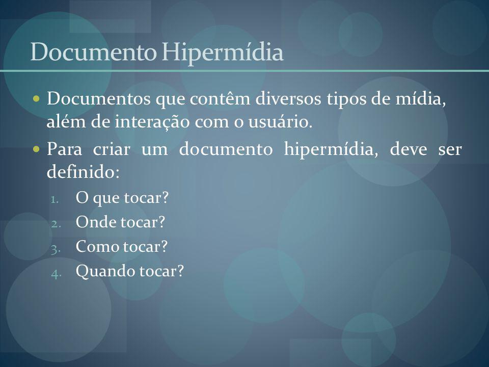 Documento Hipermídia Documentos que contêm diversos tipos de mídia, além de interação com o usuário. Para criar um documento hipermídia, deve ser defi