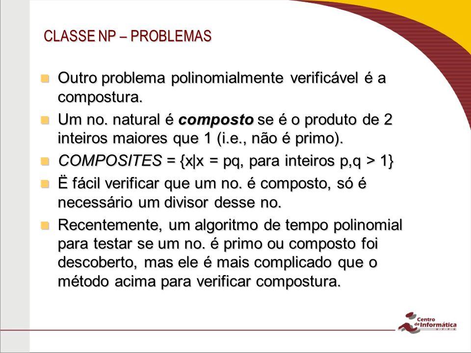 CLASSE NP – PROBLEMAS Outro problema polinomialmente verificável é a compostura.