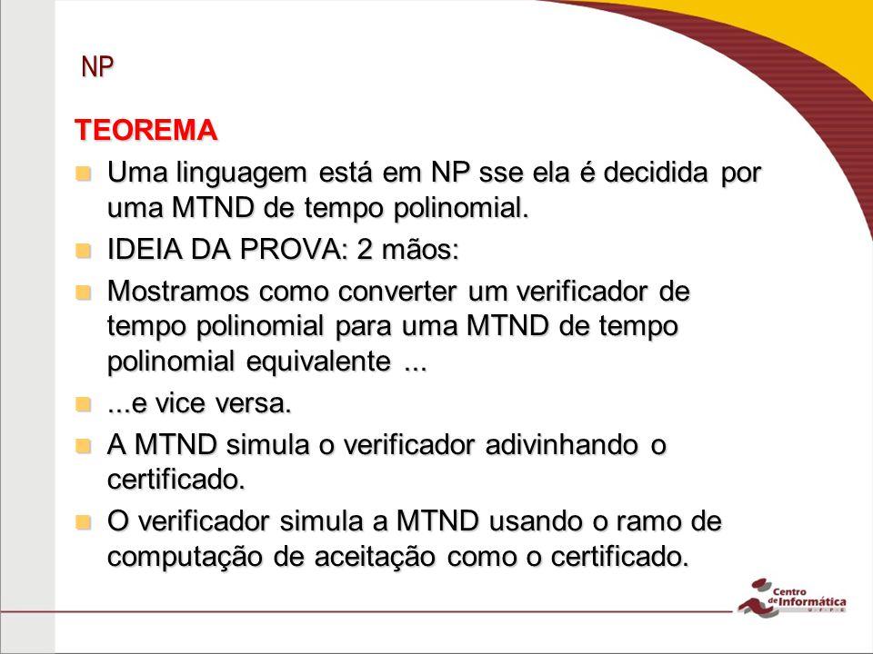 NP TEOREMA Uma linguagem está em NP sse ela é decidida por uma MTND de tempo polinomial.