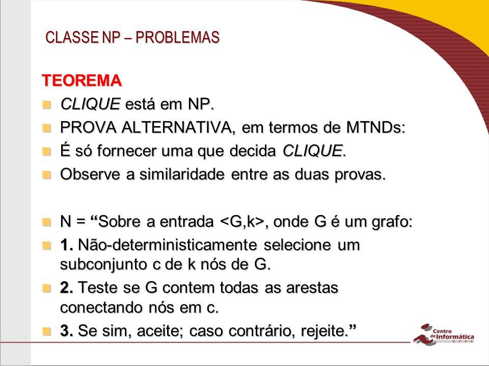 CLASSE NP – PROBLEMAS TEOREMA CLIQUE está em NP.CLIQUE está em NP.