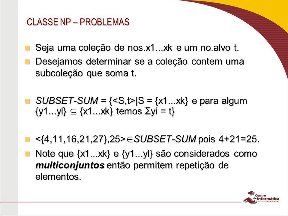 CLASSE NP – PROBLEMAS Seja uma coleção de nos.x1...xk e um no.alvo t.