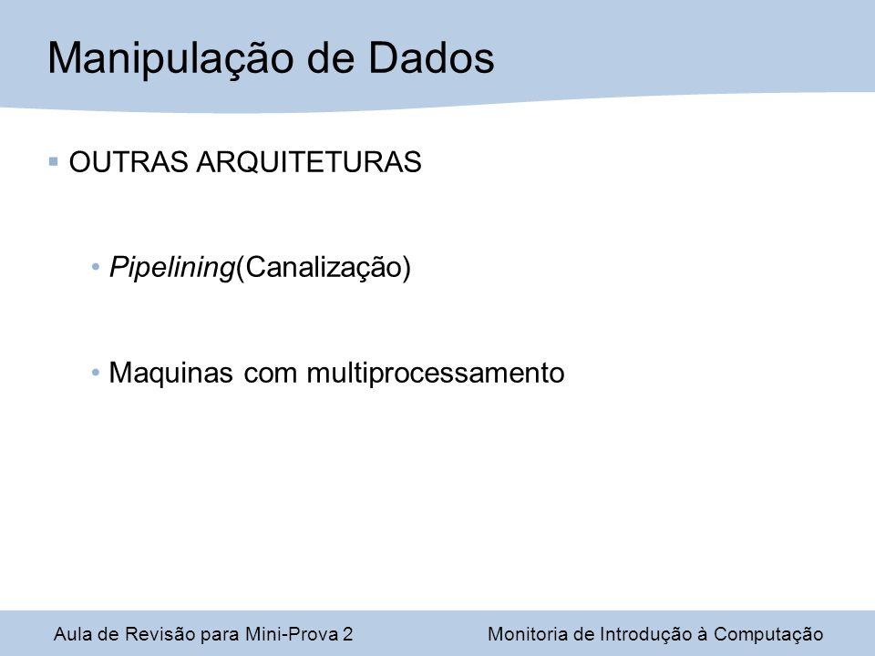 Aula de Revisão para Mini-Prova 2Monitoria de Introdução à Computação Manipulação de Dados OUTRAS ARQUITETURAS Pipelining(Canalização) Maquinas com multiprocessamento