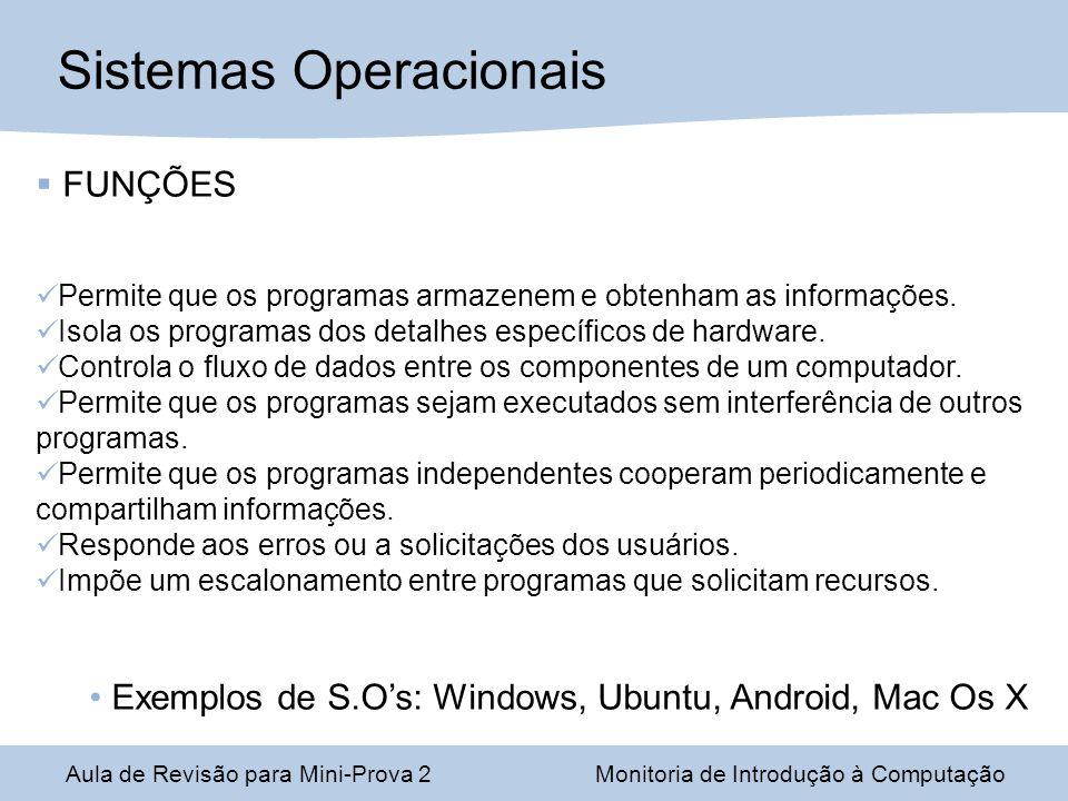 Sistemas Operacionais FUNÇÕES Permite que os programas armazenem e obtenham as informações.