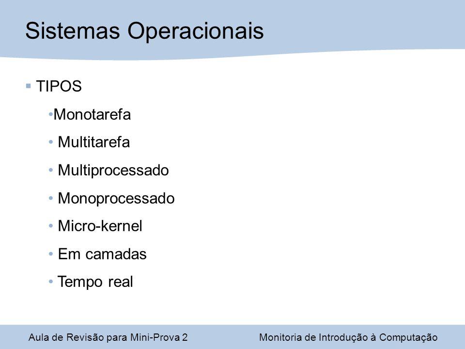 Aula de Revisão para Mini-Prova 2Monitoria de Introdução à Computação Sistemas Operacionais TIPOS Monotarefa Multitarefa Multiprocessado Monoprocessado Micro-kernel Em camadas Tempo real