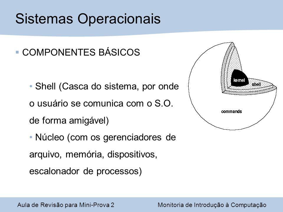 Aula de Revisão para Mini-Prova 2Monitoria de Introdução à Computação Sistemas Operacionais COMPONENTES BÁSICOS Shell (Casca do sistema, por onde o usuário se comunica com o S.O.