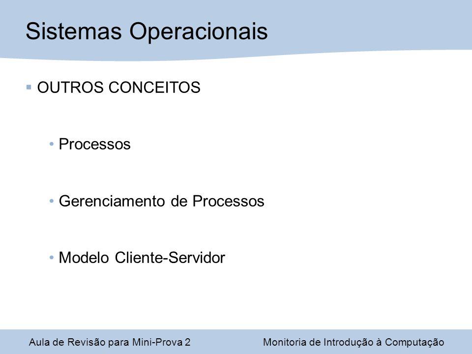 Aula de Revisão para Mini-Prova 2Monitoria de Introdução à Computação Sistemas Operacionais OUTROS CONCEITOS Processos Gerenciamento de Processos Modelo Cliente-Servidor