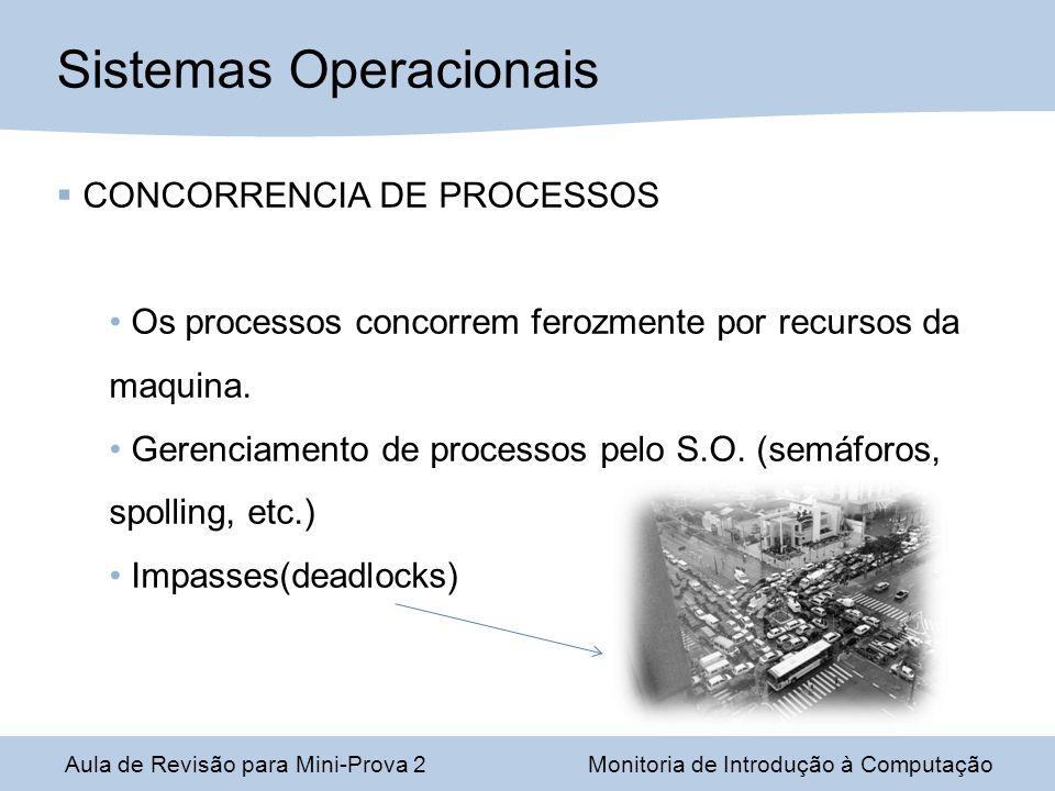 Aula de Revisão para Mini-Prova 2Monitoria de Introdução à Computação Sistemas Operacionais CONCORRENCIA DE PROCESSOS Os processos concorrem ferozmente por recursos da maquina.