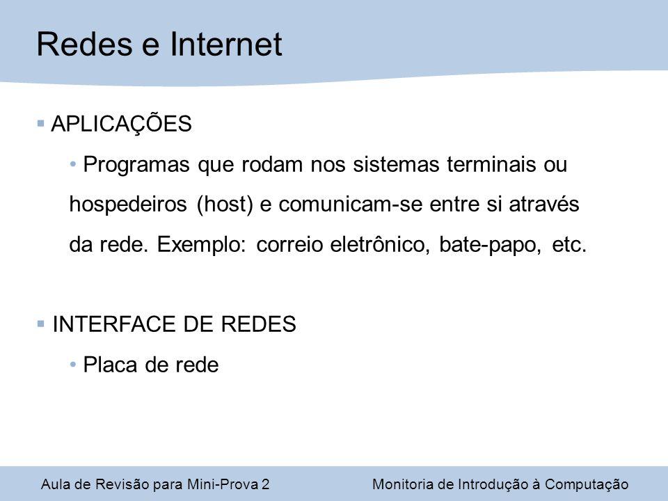 Aula de Revisão para Mini-Prova 2Monitoria de Introdução à Computação Redes e Internet APLICAÇÕES Programas que rodam nos sistemas terminais ou hospedeiros (host) e comunicam-se entre si através da rede.