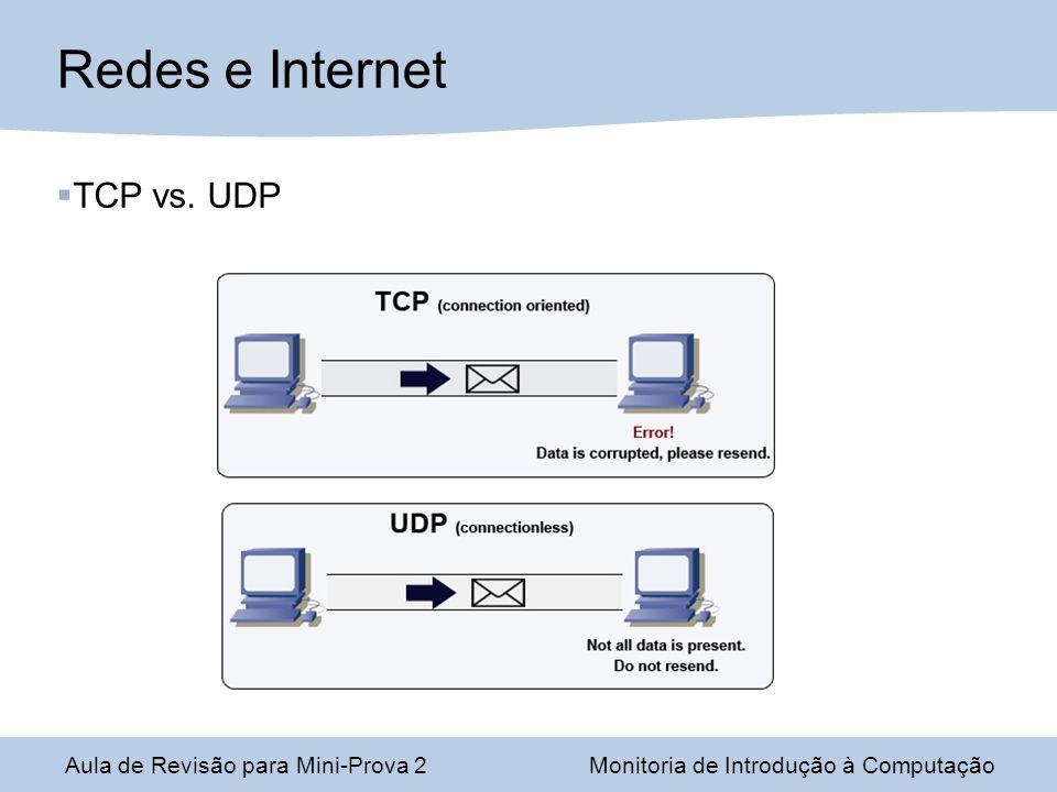 Aula de Revisão para Mini-Prova 2Monitoria de Introdução à Computação Redes e Internet TCP vs. UDP