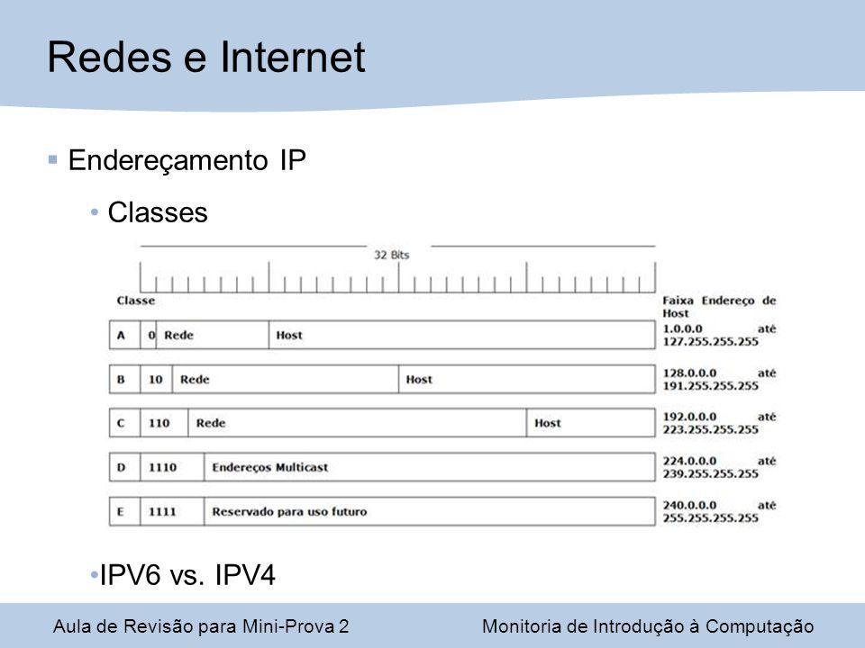 Aula de Revisão para Mini-Prova 2Monitoria de Introdução à Computação Redes e Internet Endereçamento IP Classes IPV6 vs.