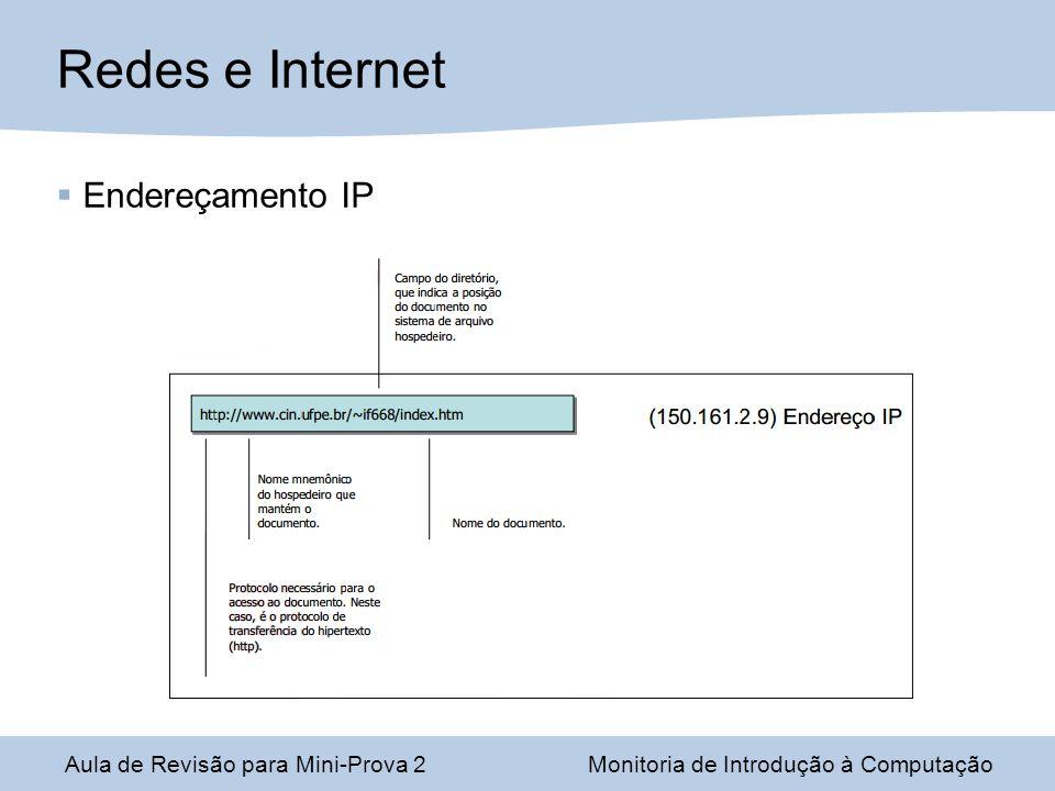 Aula de Revisão para Mini-Prova 2Monitoria de Introdução à Computação Redes e Internet Endereçamento IP